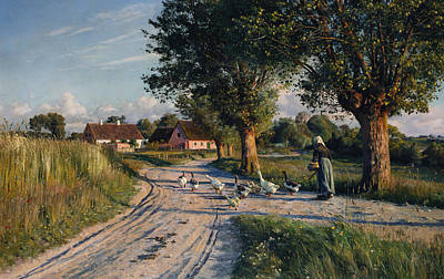 Norse Painting - The Way Home by Peder Monsted