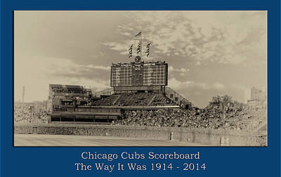 Digital Art - The Way It Was Chicago Cubs Scoreboard Heirloom by Thomas Woolworth