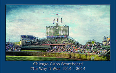 Digital Art - The Way It Was Chicago Cubs Scoreboard Textured by Thomas Woolworth