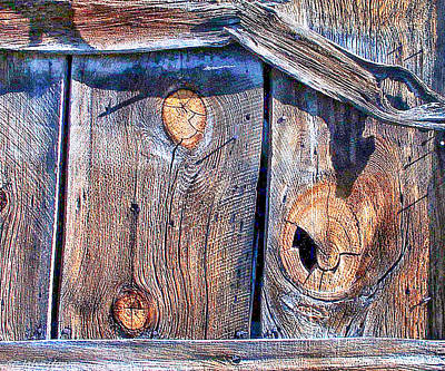 The Weathered Abstract From A Barn Door Art Print by Bob and Nadine Johnston