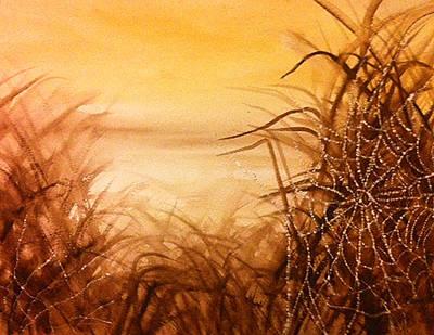 The Web At Dawn Art Print by Karen  Condron