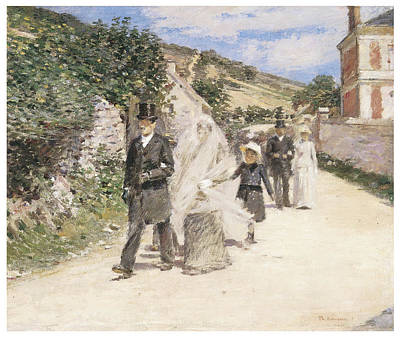 Bride And Groom Painting - The Wedding March by Theodore Robinson