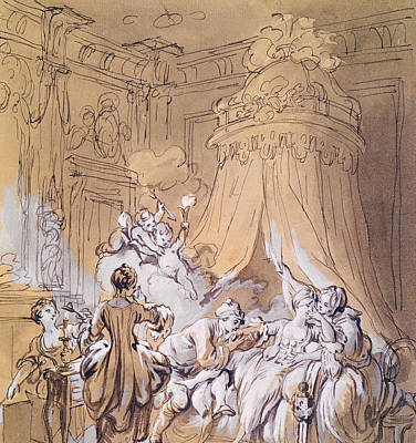 Night Angel Drawing - The Wedding Night by Pierre Antoine Baudouin