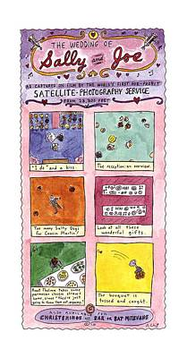 Satellite Drawing - The Wedding Of Sally And Joe by Roz Chast