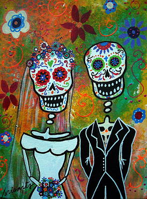 Wedding Couple Day Of The Dead Dia De Los Muertos Anniversary Gift Te Amo Painting - The Wedding by Pristine Cartera Turkus
