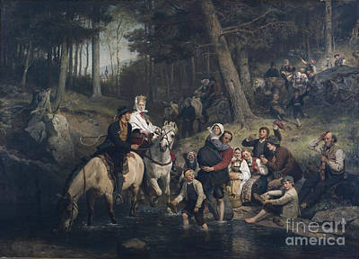 Bridegroom Painting - The Wedding Procession Through The Forest by Adolph Tidemand