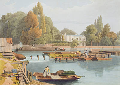 Labourer Drawing - The Weir, From Marlow Bridge, Engraved by William Havell