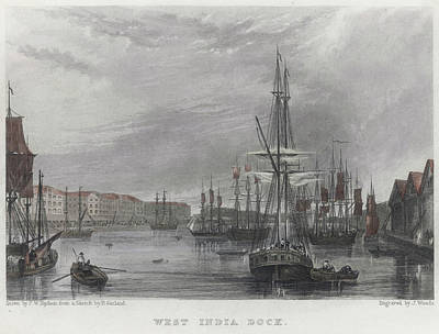 Dock Drawing - The West India Import Dock by Mary Evans Picture Library