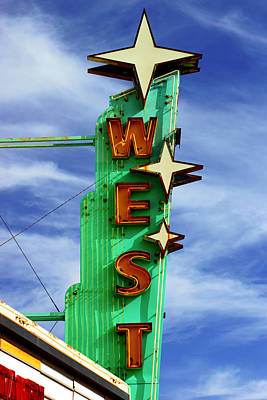 Photograph - The West Theater Marquee by Daniel Woodrum