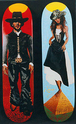 Ben Harper Painting - The Western Ben Harper Cosmic Lysa Bonet Skateboards by Ana Delilah DelMar Belacqua Wilder