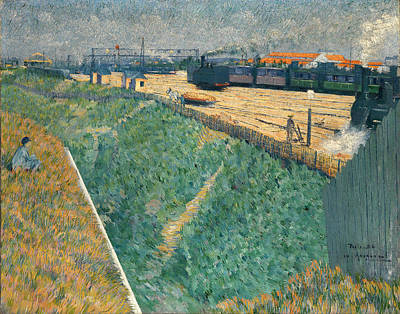Exit Painting - The Western Railway At Its Exit From Paris by Charles Angrand