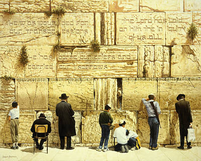 Jesus Face Painting - The Western Wall  Jerusalem by Graham Braddock