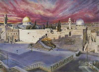 Pastel - The Western Wall by Yael Avi-Yonah
