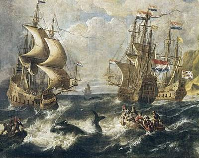 The Whale Fishing. Oil On Canvas Art Print by Everett