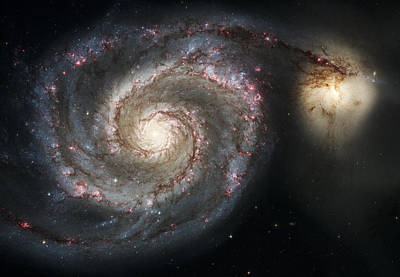 Galaxies Photograph - The Whirlpool Galaxy M51 And Companion by Adam Romanowicz