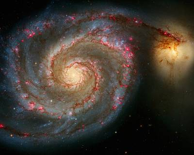The Whirlpool Galaxy M51 And Companion Print by Don Hammond