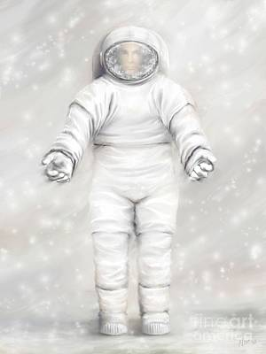 Astronauts Painting - The White Astronaut by Tharsis Artworks