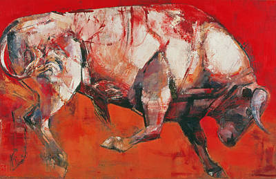 Bull Painting - The White Bull by Mark Adlington