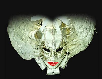 The White Dame Vintage Venetian Mask Silver And White Art Print by Luisa Vallon Fumi