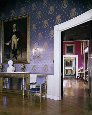 Sconce Photograph - The White House Blue Room by Tom Leonard
