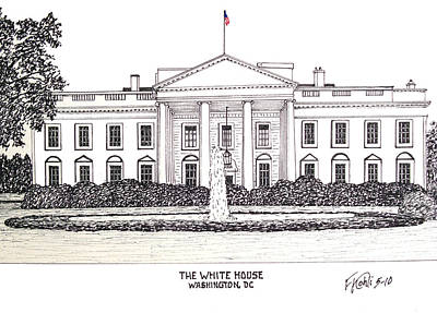 Pen And Ink Historic Buildings Drawings Drawing - The White House by Frederic Kohli