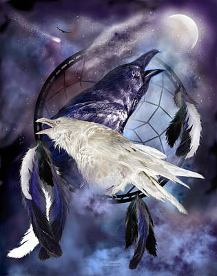 Romanceworks Mixed Media - The White Raven by Carol Cavalaris