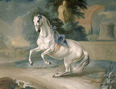 Animal Portraiture Painting - The White Stallion Leal En Levade by JG Hamilton