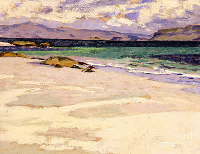 Cloudy Day Painting - The White Strand  Iona by Francis Campbell Boileau Cadell