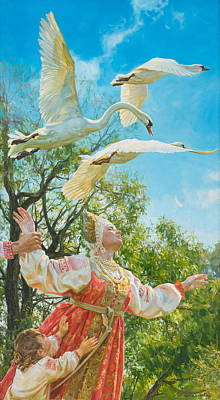 Swans Painting - The White Swan by Victoria Kharchenko