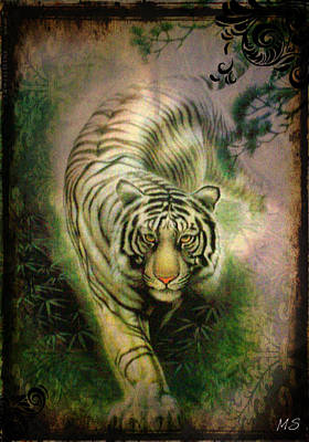 Tigris Digital Art - The White Tiger - Vintage Style by Absinthe Art By Michelle LeAnn Scott