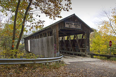 The Whites Covered Bridge On The Flat River Near Lowell In Michigan Art Print by Randall Nyhof