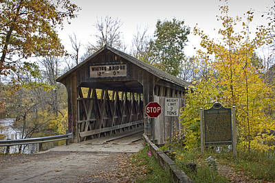The Whites Covered Bridge Was One Of The Last Of Its Kind In Michigan Art Print by Randall Nyhof
