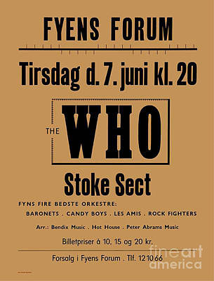 The Who And Support Stoke Sect 1966 Art Print by Kim Lessel
