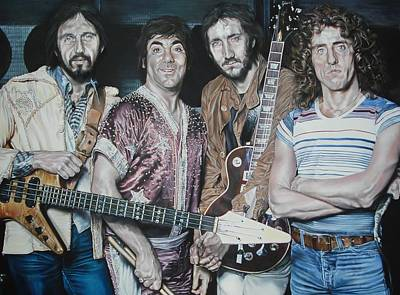 Pete Townshend Drawing - The Who-ligans by Kieran Hassey