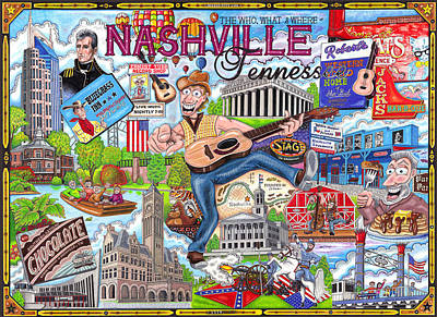 The Who What And Where Of Nashville Tennessee Art Print