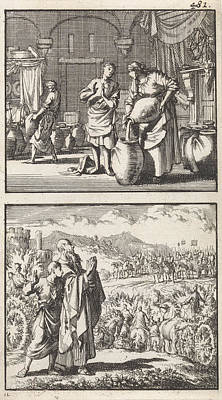 Famine Painting - The Widow Of Zarephath Fills The Miraculous Cruse Of Oil by Jan Luyken And Barent Visscher And Andries Van Damme