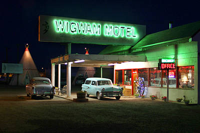 Hotel Digital Art - The Wigwam Motel On Route 66 2 by Mike McGlothlen
