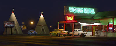 Wagon Wheels Photograph - The Wigwam Motel On Route 66 Panoramic by Mike McGlothlen