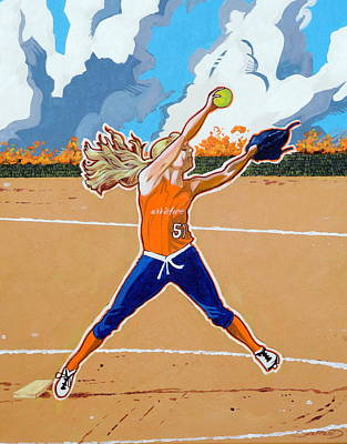 Softball Painting - The Wildfire Pitcher by Darrell Sheppard