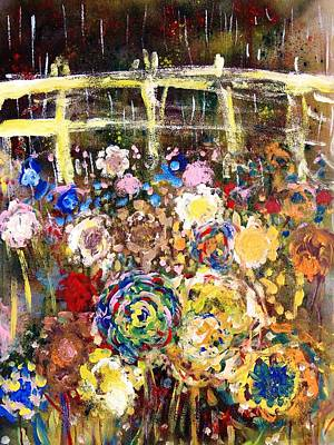Painting - The Wildflowers The Rain And The Fence by Mark Watson