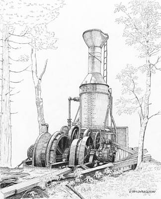 Drawing - The Willamette Steam Donkey by Timothy Livingston