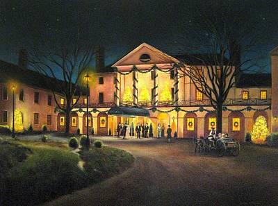 Colonial Williamsburg Painting - The Williamsburg Inn At Christmas by Gulay Berryman