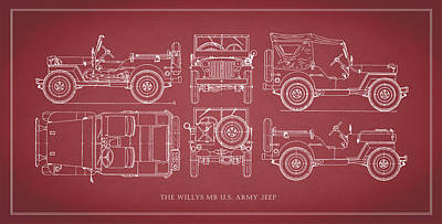 Jeeps Photograph - The Willys Jeep - Red by Mark Rogan