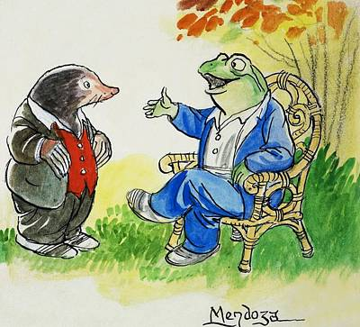Painting - The Wind In The Willows Toad And Moley by Philip Mendoza