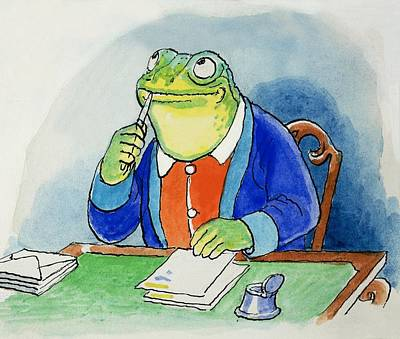 Painting - The Wind In The Willows Toad Composing A Letter by Philip Mendoza