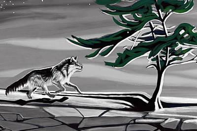 Fox Digital Art - The Wind by Munir Alawi