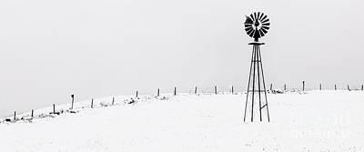 Bucolic Scenes Photograph - The Windmill -  A Minimalist Winter Scenic  by Thomas Schoeller
