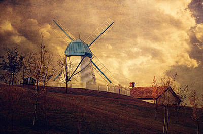 Fall Bushes Digital Art - The Windmill by Maria Angelica Maira