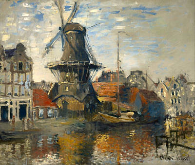 Netherlands Painting - The Windmill On The Canal In Amsterdam by Mountain Dreams