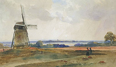 English Gouache Painting - The Windmill by Peter de Wint